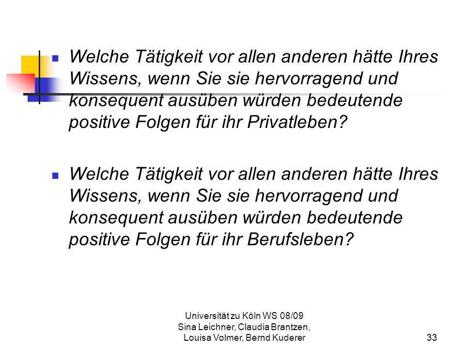 Universität zu Köln WS 08/09 Sina Leichner, Claudia Brantzen, Louisa Volmer, Bernd Kuderer33 Welche Tätigkeit vor allen anderen hätte Ihres Wissens, w