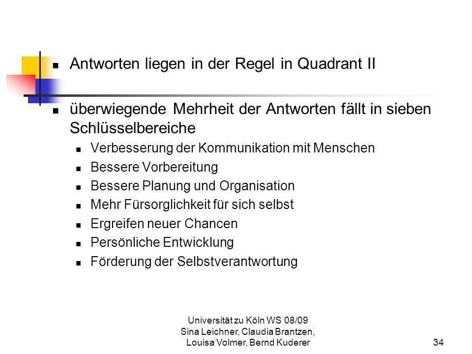 Universität zu Köln WS 08/09 Sina Leichner, Claudia Brantzen, Louisa Volmer, Bernd Kuderer34 Antworten liegen in der Regel in Quadrant II überwiegende