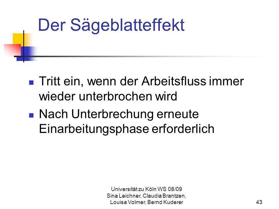 Universität zu Köln WS 08/09 Sina Leichner, Claudia Brantzen, Louisa Volmer, Bernd Kuderer43 Der Sägeblatteffekt Tritt ein, wenn der Arbeitsfluss imme