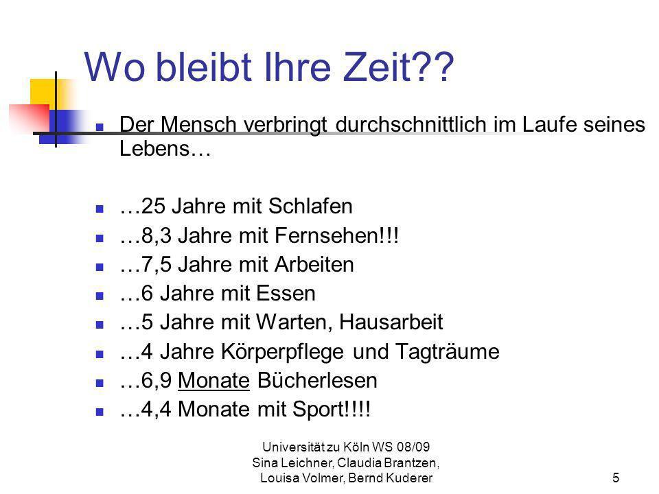 Universität zu Köln WS 08/09 Sina Leichner, Claudia Brantzen, Louisa Volmer, Bernd Kuderer6 Zeitmanagement Zeitmanagement bedeutet nun, die eigene Zeit und Arbeit zu beherrschen, anstatt sich von diesen beherrschen zu lassen.
