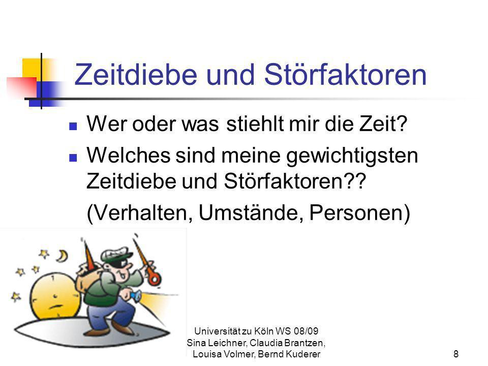 Universität zu Köln WS 08/09 Sina Leichner, Claudia Brantzen, Louisa Volmer, Bernd Kuderer29 Zeitmanagement- Matrix Quadrant I Dinge, die sowohl dringend als auch wichtig sind Quadrant der Notwendigkeit Quadrant II Tätigkeiten die wichtig, aber nicht dringend sind Quadrant der Qualität je mehr Zeit wir hiermit verbringen, desto größer wird unsere Handlungsfähigkeit großes Engagement in Quadrant II lässt Quadrant I schrumpfen