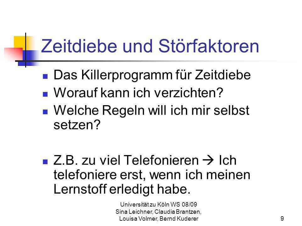 Universität zu Köln WS 08/09 Sina Leichner, Claudia Brantzen, Louisa Volmer, Bernd Kuderer30 Zeitmanagement-Matrix Quadrant III fast eine Attrappe von Quadrant I Quadrant der Täuschung (der Trubel des Dringlichen erzeugt eine Illusion von Wichtigkeit) Tätigkeiten sind höchstens für jemand anderen wichtig Quadrant IV Quadrant der Verschwendung Tätigkeiten, die weder dringend noch wichtig sind oft ist man von Quadrant I und III so überfordert, dass man sich in Quadrant IV flüchtet