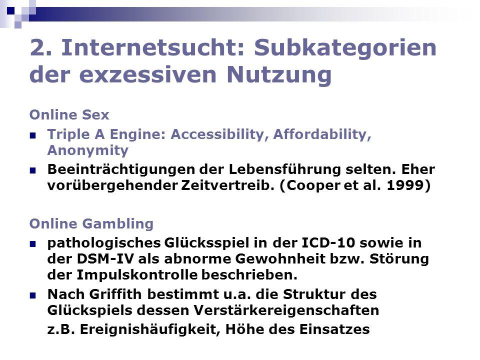 2. Internetsucht: Subkategorien der exzessiven Nutzung Online Sex Triple A Engine: Accessibility, Affordability, Anonymity Beeinträchtigungen der Lebe