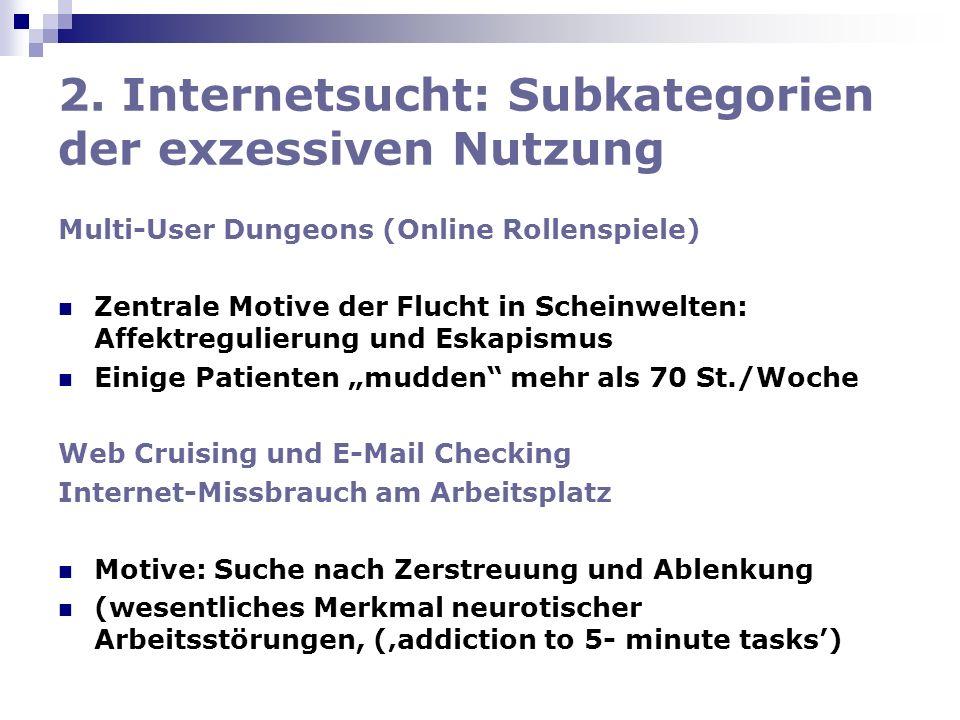 2. Internetsucht: Subkategorien der exzessiven Nutzung Multi-User Dungeons (Online Rollenspiele) Zentrale Motive der Flucht in Scheinwelten: Affektreg