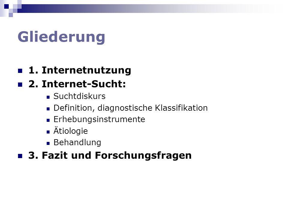 Gliederung 1. Internetnutzung 2. Internet-Sucht: Suchtdiskurs Definition, diagnostische Klassifikation Erhebungsinstrumente Ätiologie Behandlung 3. Fa