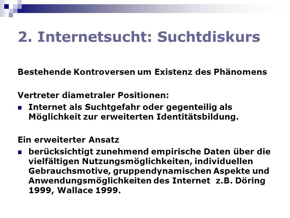 2. Internetsucht: Suchtdiskurs Bestehende Kontroversen um Existenz des Phänomens Vertreter diametraler Positionen: Internet als Suchtgefahr oder gegen