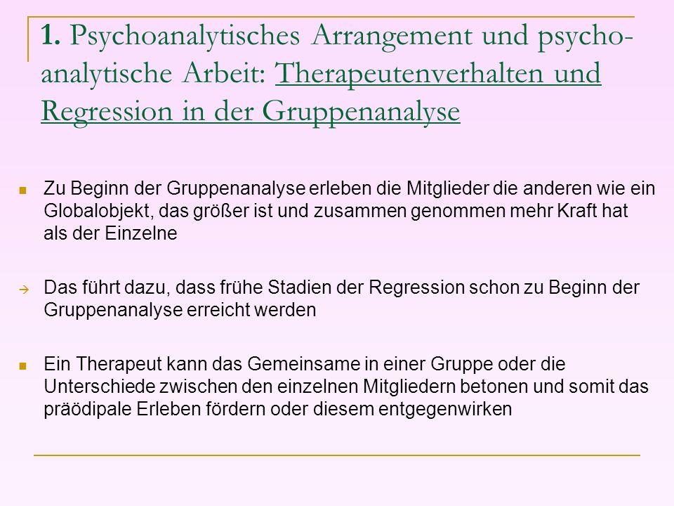 1. Psychoanalytisches Arrangement und psycho- analytische Arbeit: Therapeutenverhalten und Regression in der Gruppenanalyse Zu Beginn der Gruppenanaly