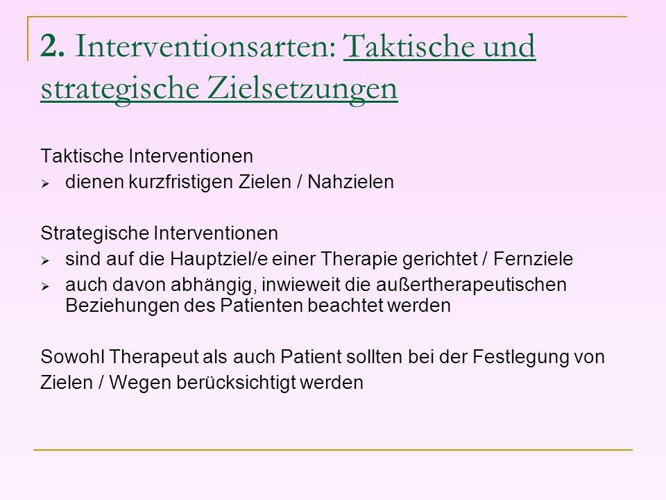 2. Interventionsarten: Taktische und strategische Zielsetzungen Taktische Interventionen dienen kurzfristigen Zielen / Nahzielen Strategische Interven