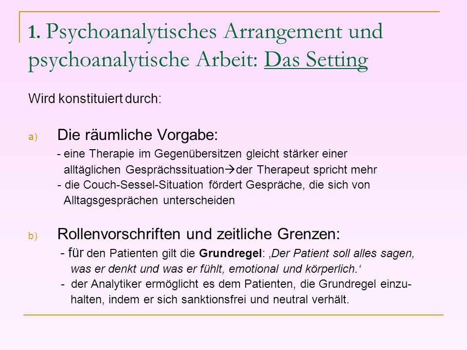 1. Psychoanalytisches Arrangement und psychoanalytische Arbeit: Das Setting Wird konstituiert durch: a) Die räumliche Vorgabe: - eine Therapie im Gege