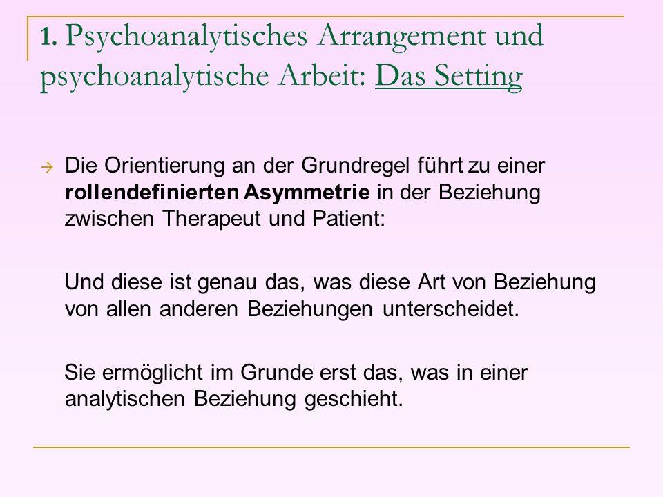 1. Psychoanalytisches Arrangement und psychoanalytische Arbeit: Das Setting Die Orientierung an der Grundregel führt zu einer rollendefinierten Asymme