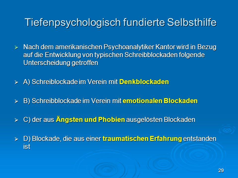 29 Tiefenpsychologisch fundierte Selbsthilfe Tiefenpsychologisch fundierte Selbsthilfe Nach dem amerikanischen Psychoanalytiker Kantor wird in Bezug a