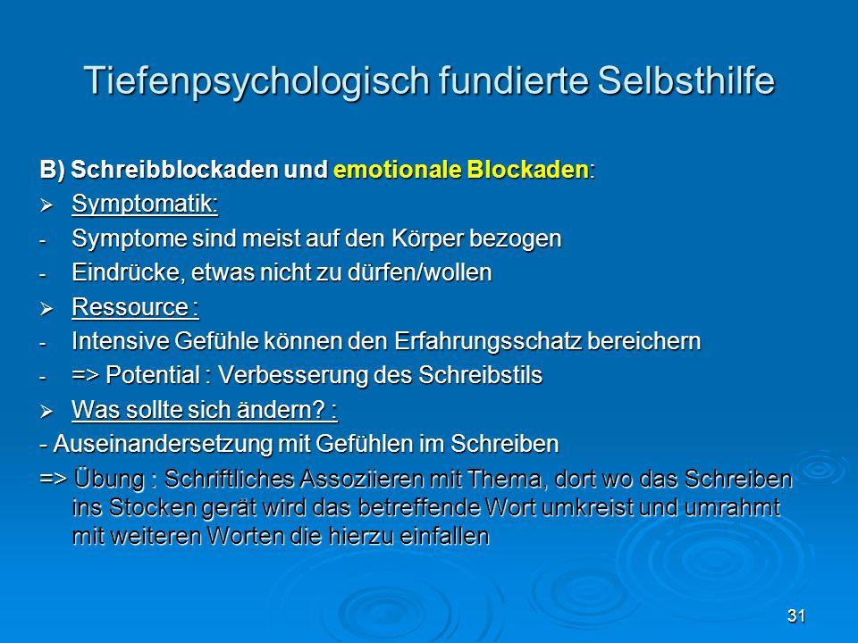 31 Tiefenpsychologisch fundierte Selbsthilfe B) Schreibblockaden und emotionale Blockaden: Symptomatik: Symptomatik: - Symptome sind meist auf den Kör