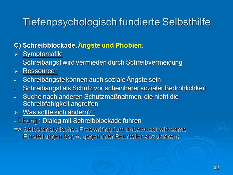 32 Tiefenpsychologisch fundierte Selbsthilfe C) Schreibblockade, Ängste und Phobien: Symptomatik: Symptomatik: - Schreibangst wird vermieden durch Sch