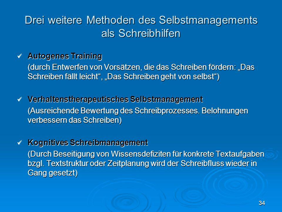 34 Drei weitere Methoden des Selbstmanagements als Schreibhilfen Autogenes Training Autogenes Training (durch Entwerfen von Vorsätzen, die das Schreib