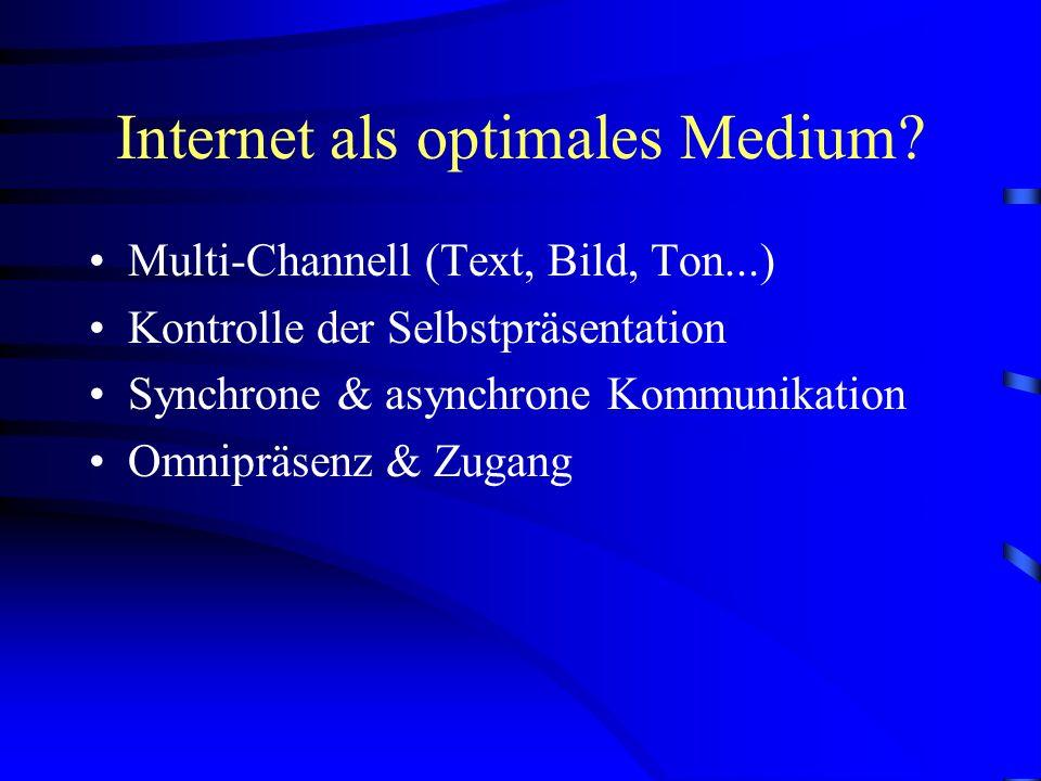 Internet-Kommunikation Jeglicher Austausch findet auf elektronische Weg statt. Nonverbale Ausdrucksformen von geringer Bedeutung Anonymität der K-Part
