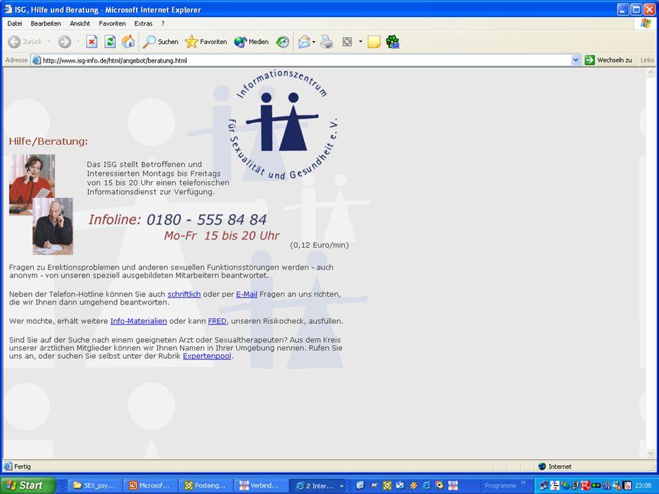 Online-Nachteile für die Sexualberatung Fehlender Background und Kontext Nähe, Wärme, Empathie B/K gering Fehlendes Feedback B/K, visual cues Nur vage