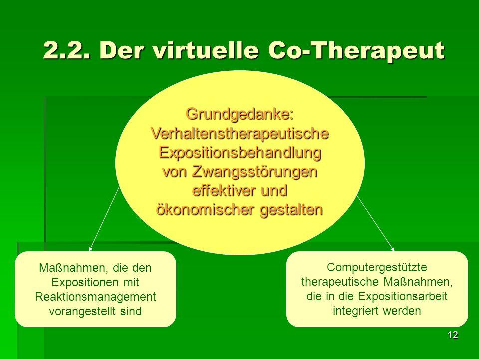 12 2.2. Der virtuelle Co-Therapeut Grundgedanke: Verhaltenstherapeutische Expositionsbehandlung von Zwangsstörungen effektiver und ökonomischer gestal