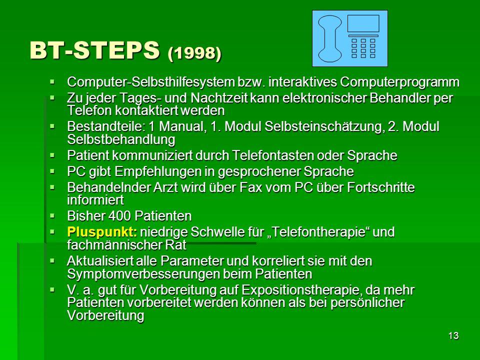 13 BT-STEPS (1998) Computer-Selbsthilfesystem bzw. interaktives Computerprogramm Computer-Selbsthilfesystem bzw. interaktives Computerprogramm Zu jede
