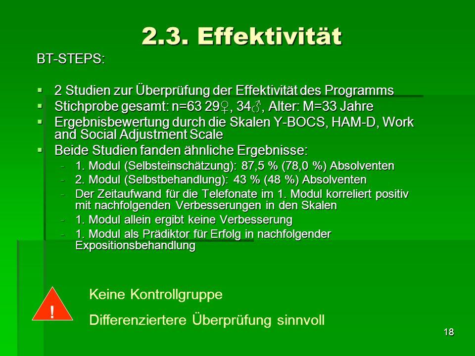 18 2.3. Effektivität BT-STEPS: 2 Studien zur Überprüfung der Effektivität des Programms 2 Studien zur Überprüfung der Effektivität des Programms Stich