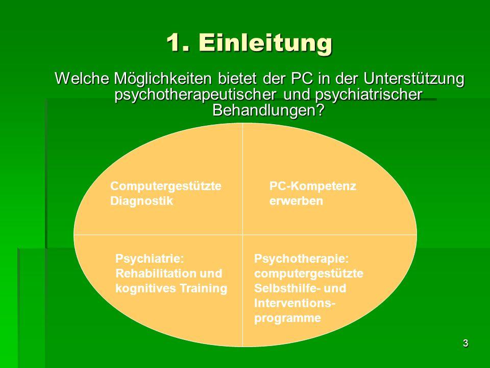 3 1. Einleitung Welche Möglichkeiten bietet der PC in der Unterstützung psychotherapeutischer und psychiatrischer Behandlungen? Computergestützte Diag