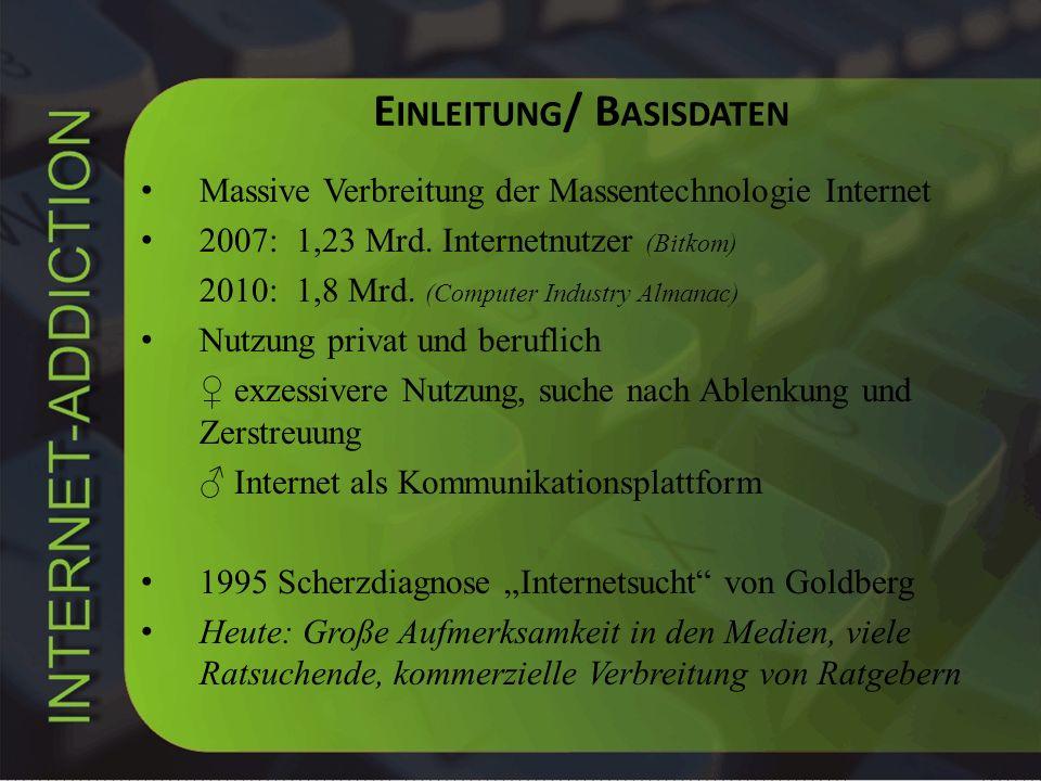 E INLEITUNG / B ASISDATEN Massive Verbreitung der Massentechnologie Internet 2007: 1,23 Mrd. Internetnutzer (Bitkom) 2010: 1,8 Mrd. (Computer Industry