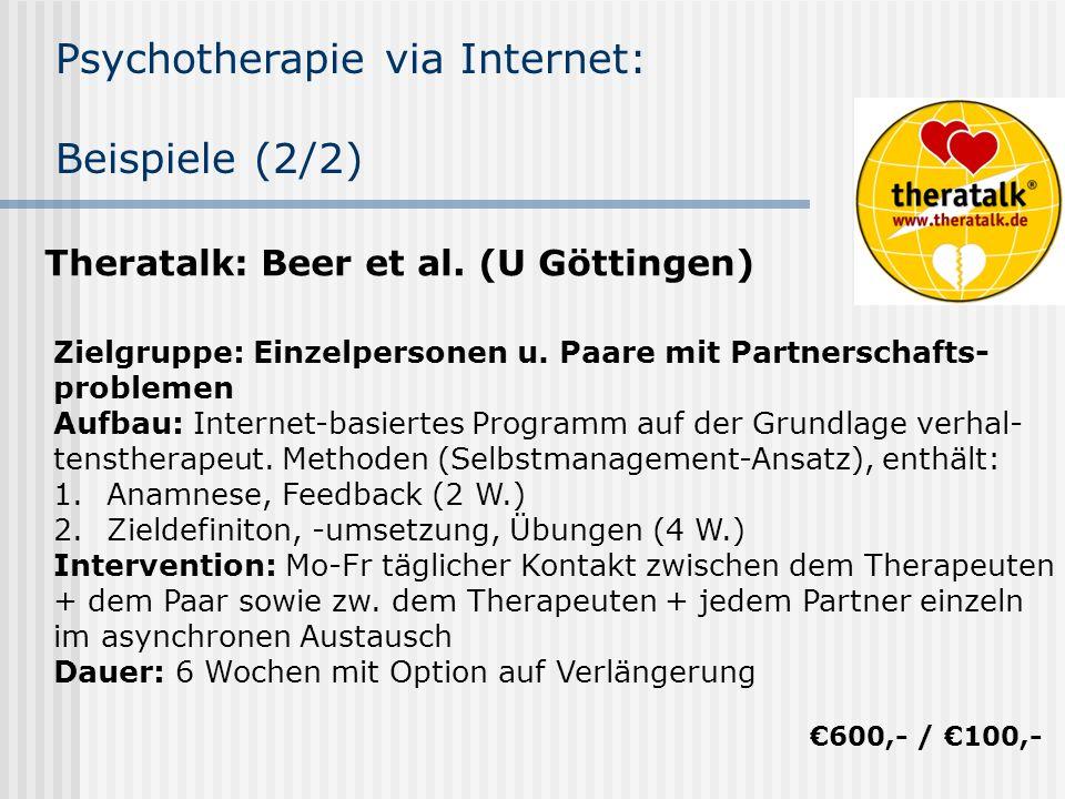 Psychotherapie via Internet: Beispiele (2/2) Theratalk: Beer et al. (U Göttingen) Zielgruppe: Einzelpersonen u. Paare mit Partnerschafts- problemen Au