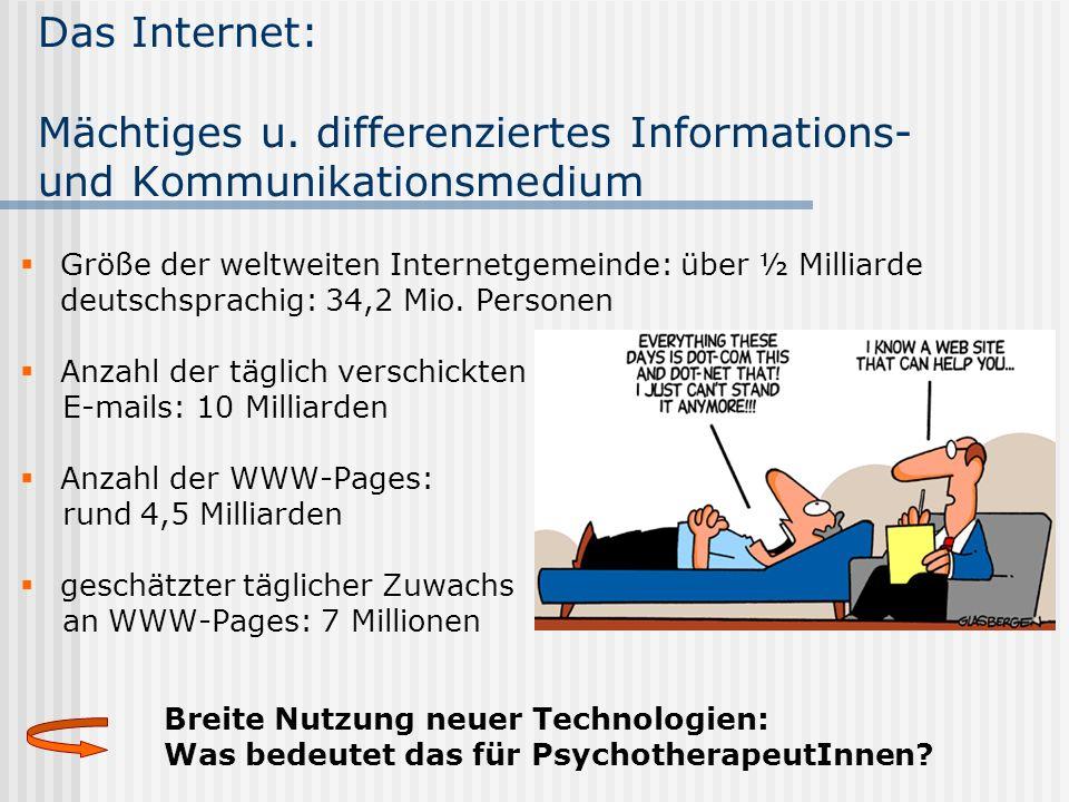 Das Internet: Mächtiges u. differenziertes Informations- und Kommunikationsmedium Größe der weltweiten Internetgemeinde: über ½ Milliarde deutschsprac