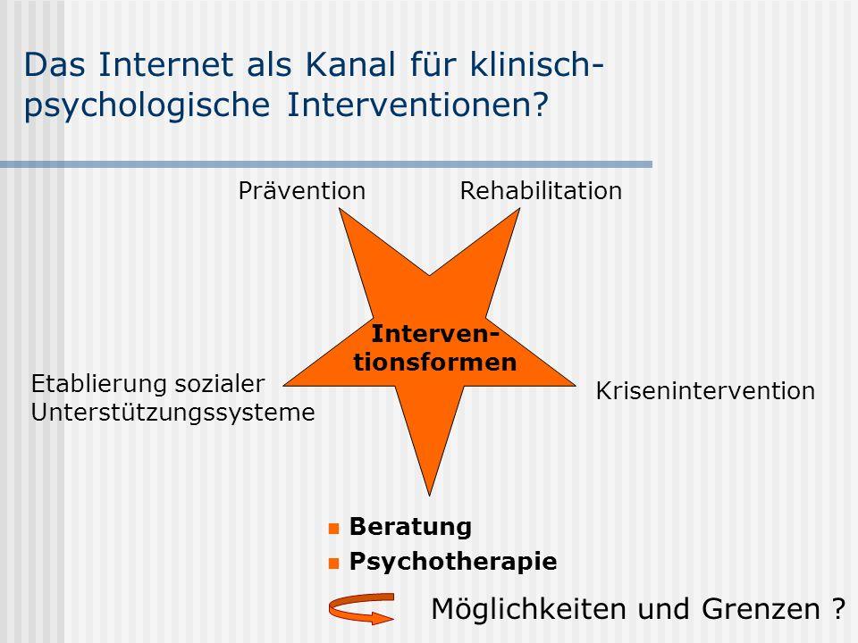 Das Internet als Kanal für klinisch- psychologische Interventionen? Beratung Psychotherapie Etablierung sozialer Unterstützungssysteme Rehabilitation
