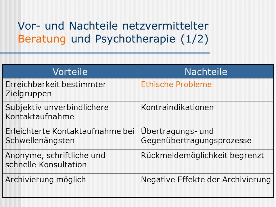 Vor- und Nachteile netzvermittelter Beratung und Psychotherapie (1/2) VorteileNachteile Erreichbarkeit bestimmter Zielgruppen Ethische Probleme Subjek