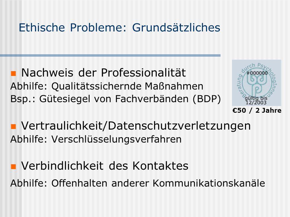 Ethische Probleme: Grundsätzliches Nachweis der Professionalität Abhilfe: Qualitätssichernde Maßnahmen Bsp.: Gütesiegel von Fachverbänden (BDP) Vertra