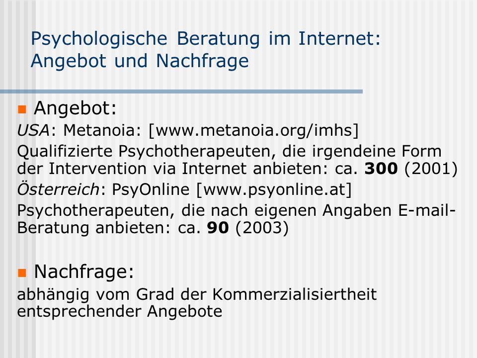 Psychologische Beratung im Internet: Angebot und Nachfrage Angebot: USA: Metanoia: [www.metanoia.org/imhs] Qualifizierte Psychotherapeuten, die irgend