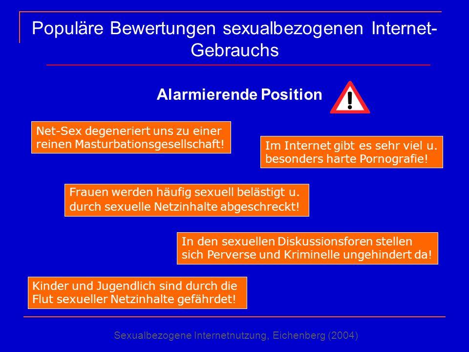 Populäre Bewertungen sexualbezogenen Internet- Gebrauchs Alarmierende Position Net-Sex degeneriert uns zu einer reinen Masturbationsgesellschaft! Frau