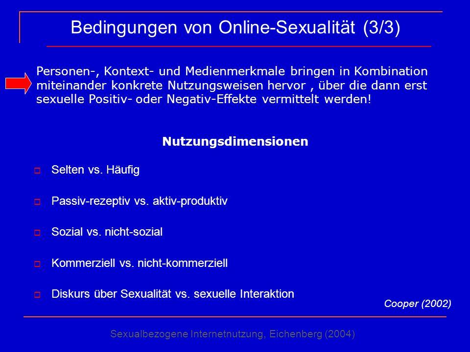Bedingungen von Online-Sexualität (3/3) Selten vs. Häufig Passiv-rezeptiv vs. aktiv-produktiv Sozial vs. nicht-sozial Kommerziell vs. nicht-kommerziel