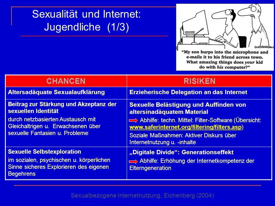 Sexualität und Internet: Jugendliche (1/3) CHANCENRISIKEN Altersadäquate SexualaufklärungErzieherische Delegation an das Internet Beitrag zur Stärkung