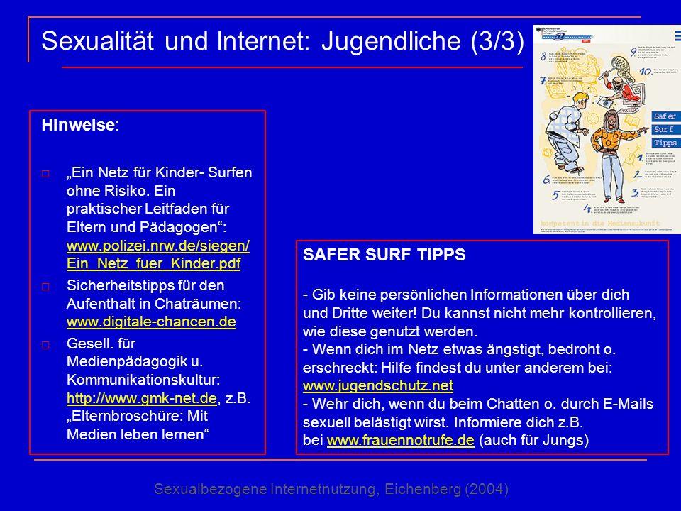 Sexualität und Internet: Jugendliche (3/3) Hinweise: Ein Netz für Kinder- Surfen ohne Risiko. Ein praktischer Leitfaden für Eltern und Pädagogen: www.