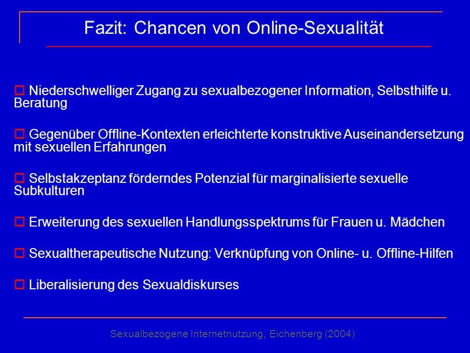Fazit: Chancen von Online-Sexualität Niederschwelliger Zugang zu sexualbezogener Information, Selbsthilfe u. Beratung Gegenüber Offline-Kontexten erle