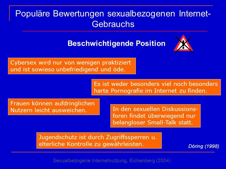 Populäre Bewertungen sexualbezogenen Internet- Gebrauchs Beschwichtigende Position Cybersex wird nur von wenigen praktiziert und ist sowieso unbefried