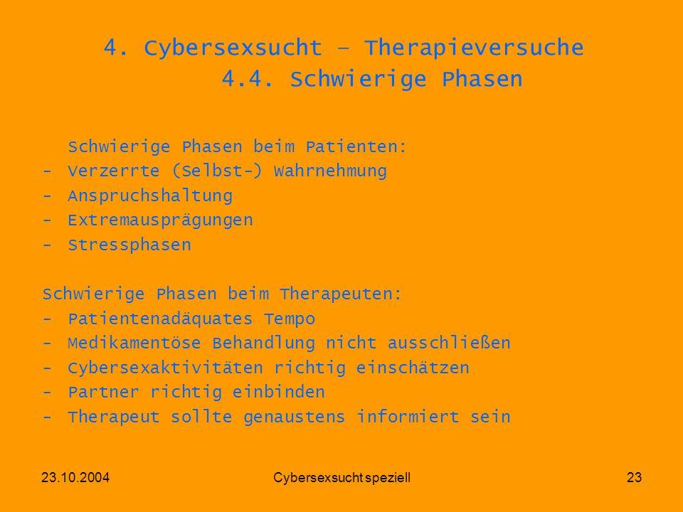 23.10.2004Cybersexsucht speziell23 4. Cybersexsucht – Therapieversuche 4.4. Schwierige Phasen Schwierige Phasen beim Patienten: -Verzerrte (Selbst-) W