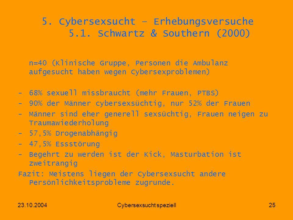 23.10.2004Cybersexsucht speziell25 5. Cybersexsucht – Erhebungsversuche 5.1. Schwartz & Southern (2000) n=40 (Klinische Gruppe, Personen die Ambulanz