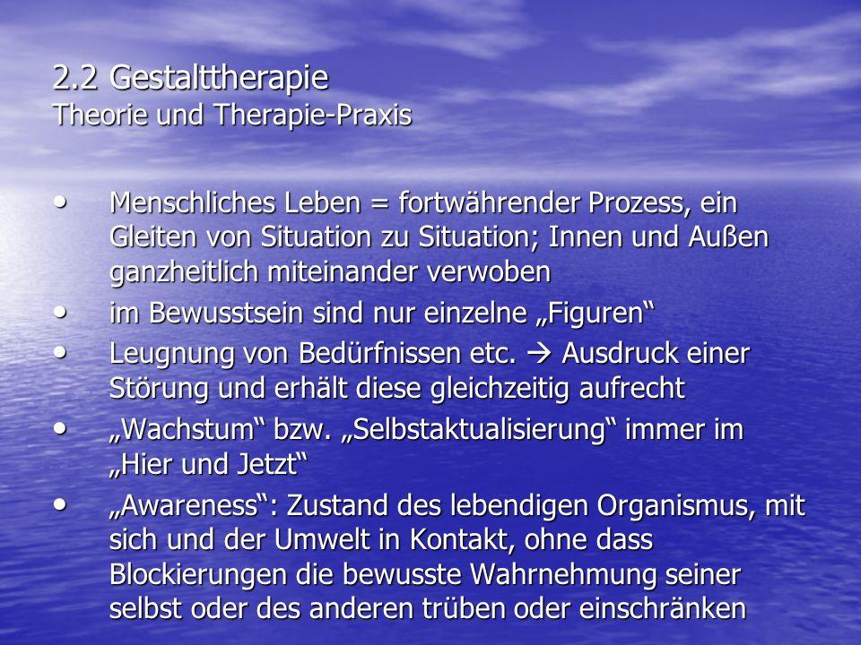 2.2 Gestalttherapie Theorie und Therapie-Praxis Menschliches Leben = fortwährender Prozess, ein Gleiten von Situation zu Situation; Innen und Außen ga