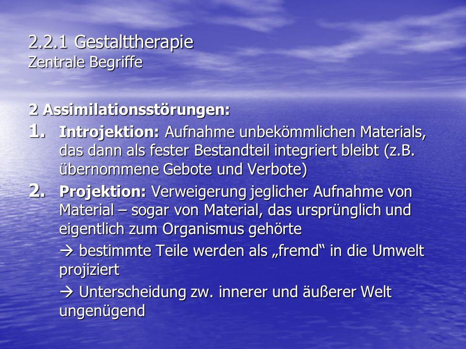 2.2.1 Gestalttherapie Zentrale Begriffe 2 Assimilationsstörungen: 1. Introjektion: Aufnahme unbekömmlichen Materials, das dann als fester Bestandteil
