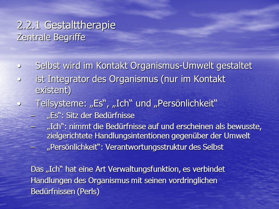 2.2.1 Gestalttherapie Zentrale Begriffe Selbst wird im Kontakt Organismus-Umwelt gestaltetSelbst wird im Kontakt Organismus-Umwelt gestaltet ist Integ