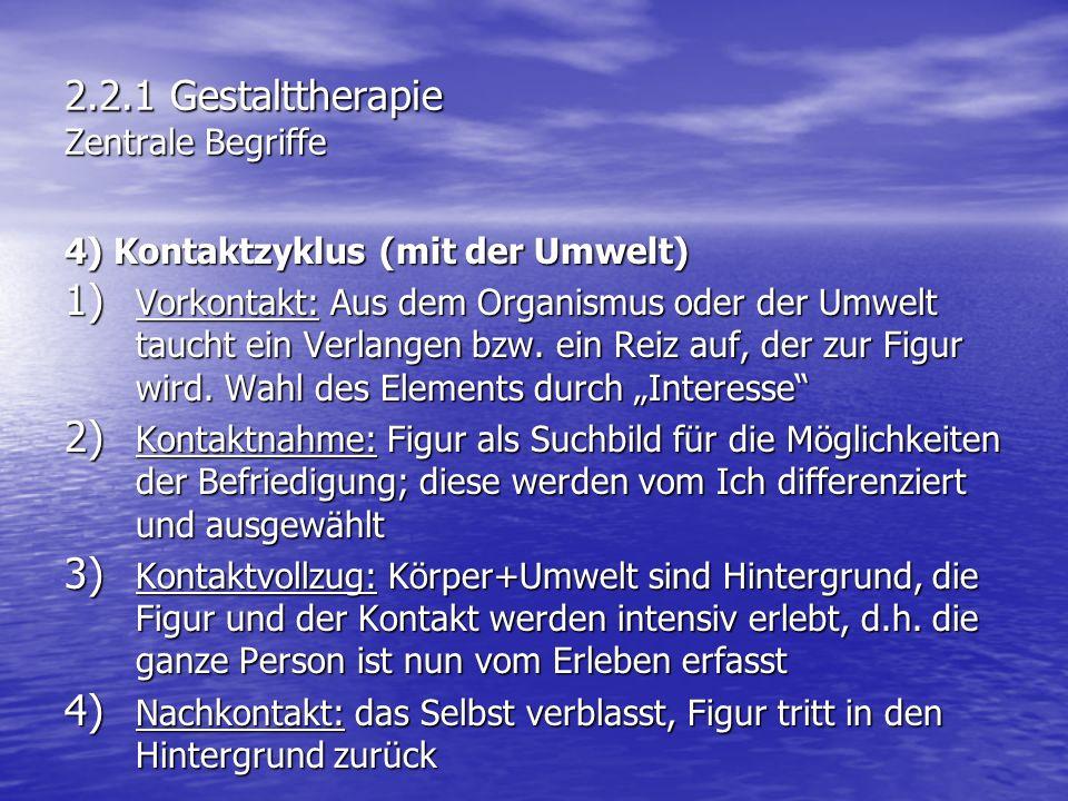 2.2.1 Gestalttherapie Zentrale Begriffe 4) Kontaktzyklus (mit der Umwelt) 1) Vorkontakt: Aus dem Organismus oder der Umwelt taucht ein Verlangen bzw.
