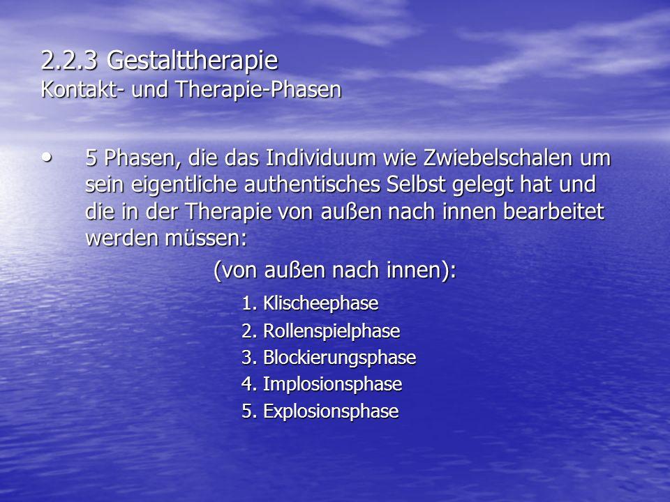 2.2.3 Gestalttherapie Kontakt- und Therapie-Phasen 5 Phasen, die das Individuum wie Zwiebelschalen um sein eigentliche authentisches Selbst gelegt hat