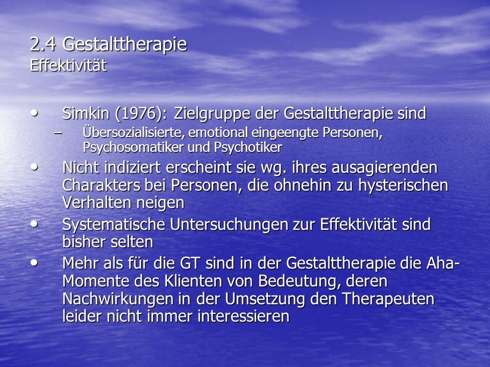 2.4 Gestalttherapie Effektivität Simkin (1976): Zielgruppe der Gestalttherapie sind Simkin (1976): Zielgruppe der Gestalttherapie sind –Übersozialisie