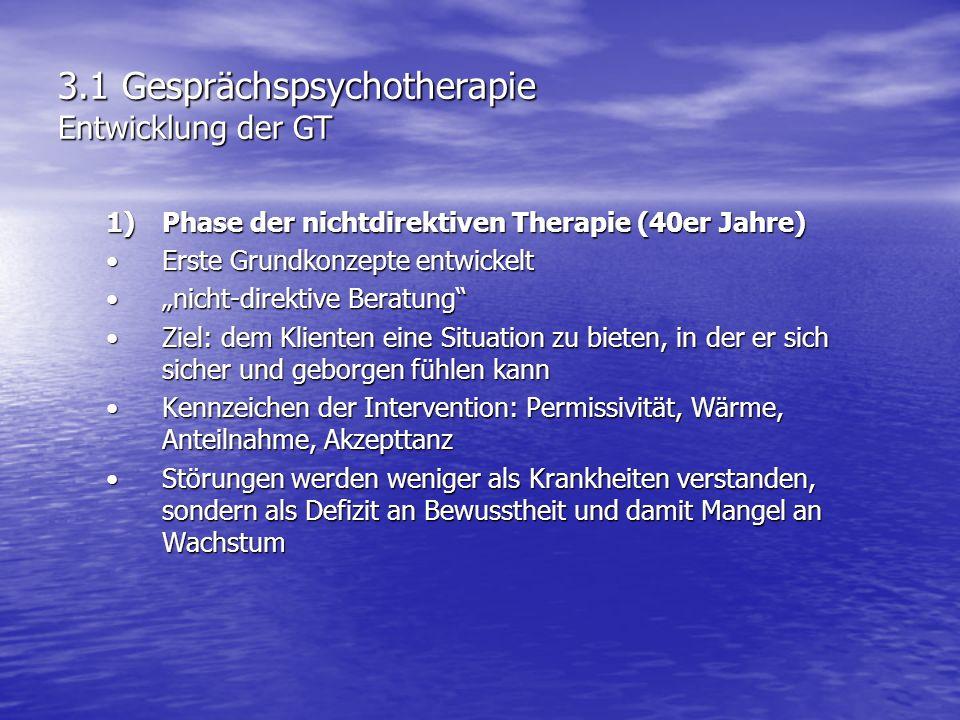 3.1 Gesprächspsychotherapie Entwicklung der GT 1)Phase der nichtdirektiven Therapie (40er Jahre) Erste Grundkonzepte entwickeltErste Grundkonzepte ent