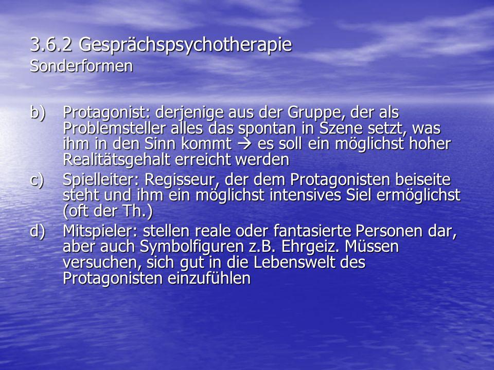 3.6.2 Gesprächspsychotherapie Sonderformen b)Protagonist: derjenige aus der Gruppe, der als Problemsteller alles das spontan in Szene setzt, was ihm i