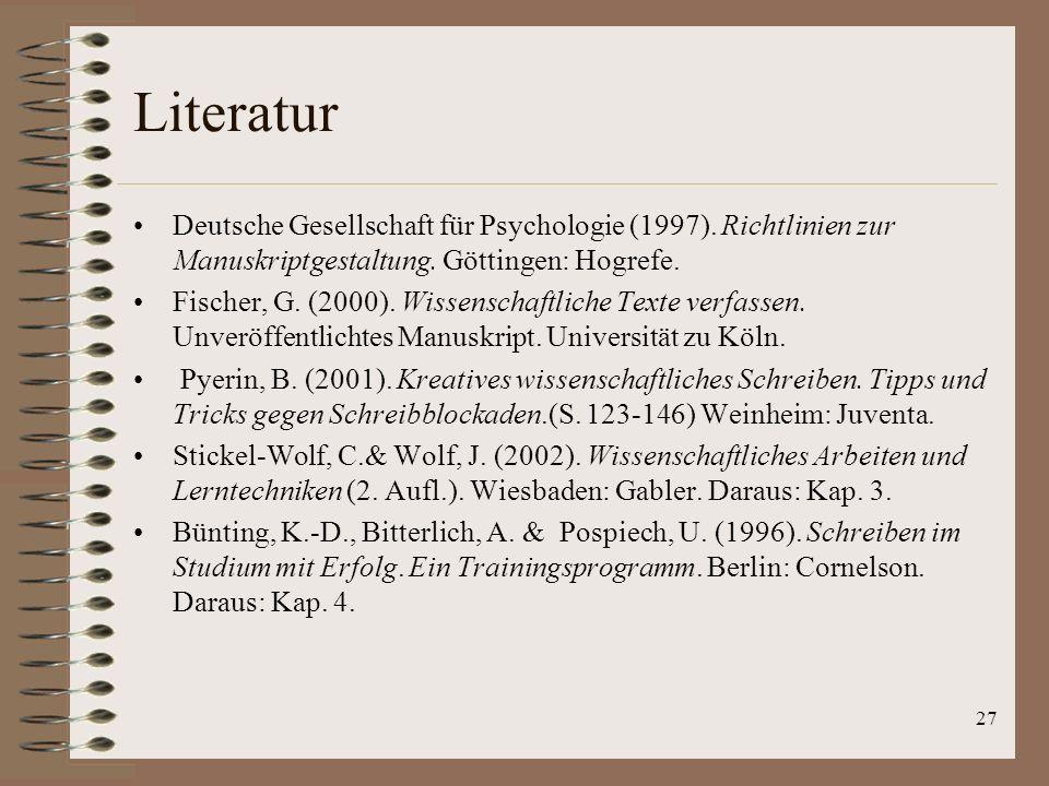 27 Literatur Deutsche Gesellschaft für Psychologie (1997).