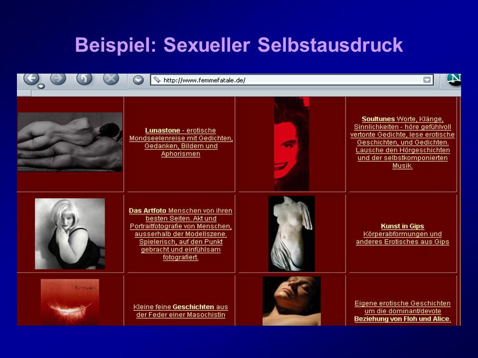 Motive der AnbieterInnen sexualbezogener Seiten Eichenberg (1999) fand bei den 43 Befragten folgende Hauptmotive: 1.Information/ Aufklärung anbieten (z.B.