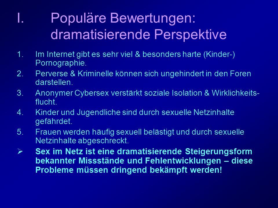 Populäre Bewertungen: beschwichtigende Perspektive 1.Weder besonders viel noch harte Pornographie im Internet 2.In sexuellen Diskussionforen findet Small Talk statt.